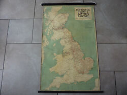 Lner Railway Wall Hanging Linen Backed Station And Network Map George Phillip 1937