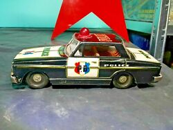 Vintage Toy Police Car Mf 255 P.d Tin Litho Friction Powered 60's China Works