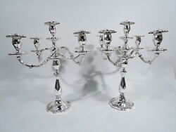 Fisher English Rose Candelabra - 2450 - 5 Light Pair - American Sterling Silver