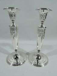Candlesticks - 20182a - Antique Regency Pair - American Sterling Silver