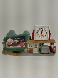Vintage 1990 Coke Coca Cola Garage Service Gas Station Route 66 Wall Clock Works