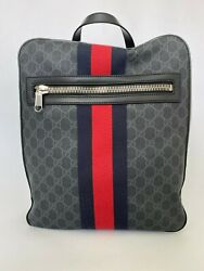 Pre-owned 478324 Gg Supreme Backpack Black Gray Blue Red Canvas Calf F/s