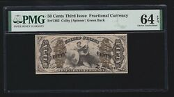 Us 50c Justice Fractional Currency Green Back Fr 1362 Pmg 64 Epq Ch Cu -001