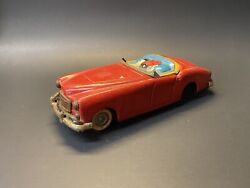 Vintage Rare 1950s Marx Linemar Popeye Red Friction Roadster Tin Toy Car
