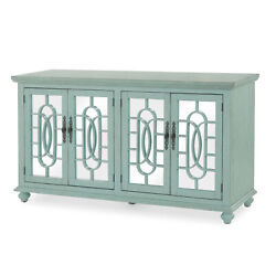 Trellis Front Wood And Glass Tv Stand With Cabinet Storage Mint Green