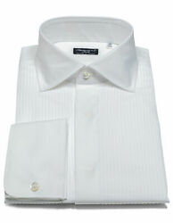 Finamore 1925 Dress Shirt In White With Double Cuff And Kent Collar/reg