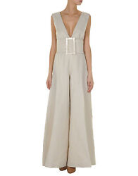 Viktor And Rolf Tan Plunging Low Cut Belted Wide Leg Dress Jumpsuit 42 6