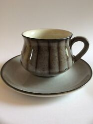Denby Stoneware Gray Brn Turquoise Mug Coffee Cup Saucer Made In England Ceramic