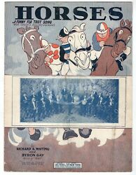 Leo Feist Horses Fox Trot Sing Antique Horse Racing Graphic Sheet Music 1926