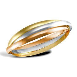 Jewelco London 9ct 3-colour Gold Russian Wedding Ring 4mm Bangle Bracelet