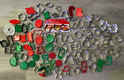 Lot Of 97 Cookie Cutter Stamp With 2 Wooden Handles Unbranded Wilton Christmas