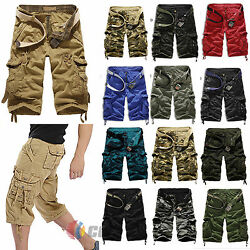 Camouflage Cargo Jeans Mens Army Combat Shorts Casual Camo Work Short Half Pants