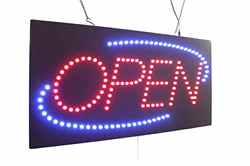 Open Sign 24 With Blue Oval Topking Signage Led Neon Open Store Window