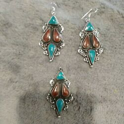 925 Silver Turquoise And Red Coral Pendant And Earrings Set