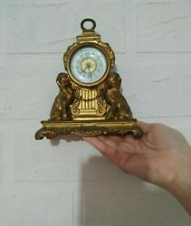 Beautifull Large Antique Clock Bronze With Gilding Hand Carved Decorative Used