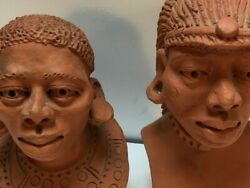 Busts Sculptured Heads Mayan Aztec Signed Dullo 1993 History Clay Art