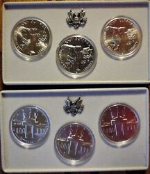 1983 And 1984 Us Olympic 3 Silv. Dol, Commemorative Coin Sets With Coa