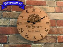 Personalized Engraved Clock Wedding Gift Anniversary Furniture Handcrafted Decor