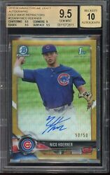 2018 Bowman Chrome Gold Refractor Nico Hoerner Auto Rc 46/50 Bgs 9.5