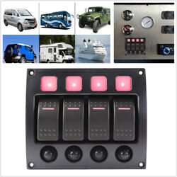 4gang Led Rocker Switch Panel With Circuit Breakers For Rv Car Marine Boat Yacht
