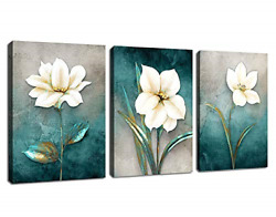 arteWOODS Flower Canvas Wall Art Bedroom Wall Decor White Blossom Blue Abstract