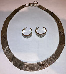 Navajo Vintage Sterling Silver Elgin Tom Collar Maze Choker Necklace And Earrings