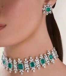 Green Doublet Choker Necklace With Earrings In Silver