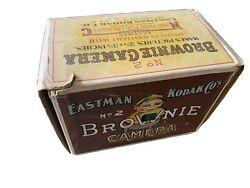 Antique Eastman Kodak Brownie Box Camera No.2 With Colorful Graphic Box.