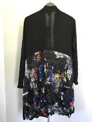 Comfy Usa L Abstract Black Polyester Crinkle Look Sheer Open Long Layering Top