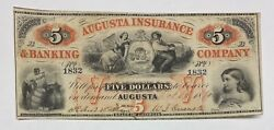 Augusta Insurance And Banking Company 1860 5 Note Augusta Georgia