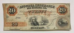 The Augusta Insurance And Banking Company 1860 20 Note Augusta Georgia