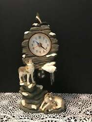 Wolf Family Of Wolves On Rocks Statue Figurine Clock Native American