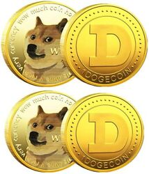 100x Gold Dogecoin Coins Commemorative 2021 New Collectors Gold Plated Doge Coin