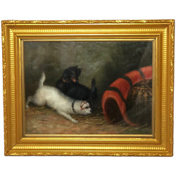 Fine Oil Painting 2 Terrier Dogs In Barn Ratting After Edward George Armfield