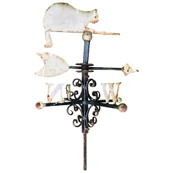 Antique 19th Century Victorian Cast Iron Roof Top Cat Wind Direction Weathervane