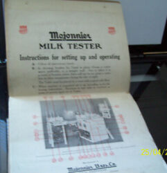 Mojonnier Milk Tester Instructions For Setting Up And Operating Manual 1917-19
