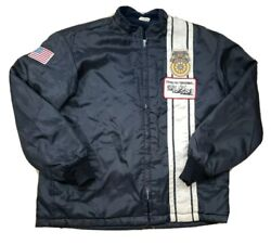 Vintage 60s 70s Nylon Teamsters Keep On Truckinand039 Patch Trucker Jacket Black L/xl