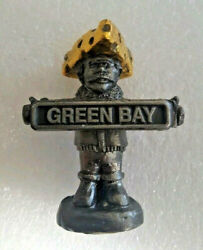 Vintage Michael Ricker Pewter Green Bay Packers Fan Sculpture Cheeshead Signed