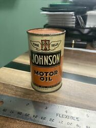 """3.5"""" Vintage Rare Johnson Motor Oil Can Coin Bank Chicago Il Displays Great"""
