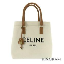 Celine Horizontal Hippo Natural X Tongue Canvas X Leather Tote Bag From Japan