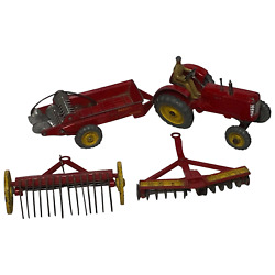 1950's Dinky Toys Massey Harris Red Tractor Plough Manure Spreader Disc Harrow