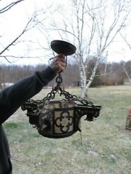 Arts And Craft Antique 5 Lite Copper And Slag Glass Hanging Lite