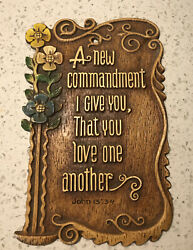 Vtg Resin Chalkware Bible Verse Wall Hanging Plaque Sign Cottagecore Love Jn 13