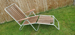 Vintage Redwood Folding Reclining Chaise Lawn Beach Lounge Chair Aluminum Frame
