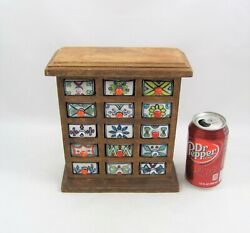 Vintage Spice Cabinet With 15 Porcelain Drawers