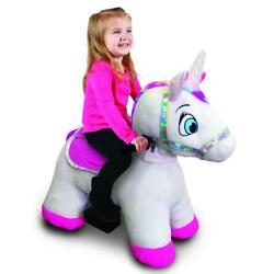 6 Volt Stable Buddies Willow Unicorn Plush Ride-on By Dynacraft With Light Up Ho
