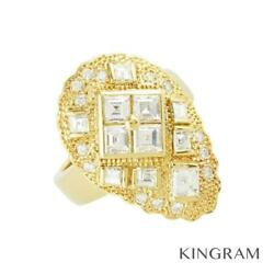 18k Yellow Gold 750 Diamond 51 Cleaned Ring From Japan