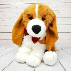 Commonwealth 13quot; Beagle Basset Hound Dog Floppy Ears Red Bow Seated Plush
