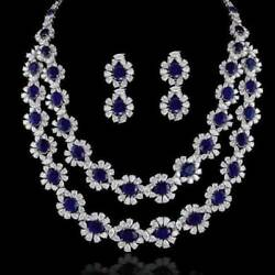 Blue Sapphire And White Topaz Bridal Necklace Earrings Made In Sterling Silver