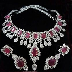Sterling Silver Bridal Ruby Necklace With Matching Earrings